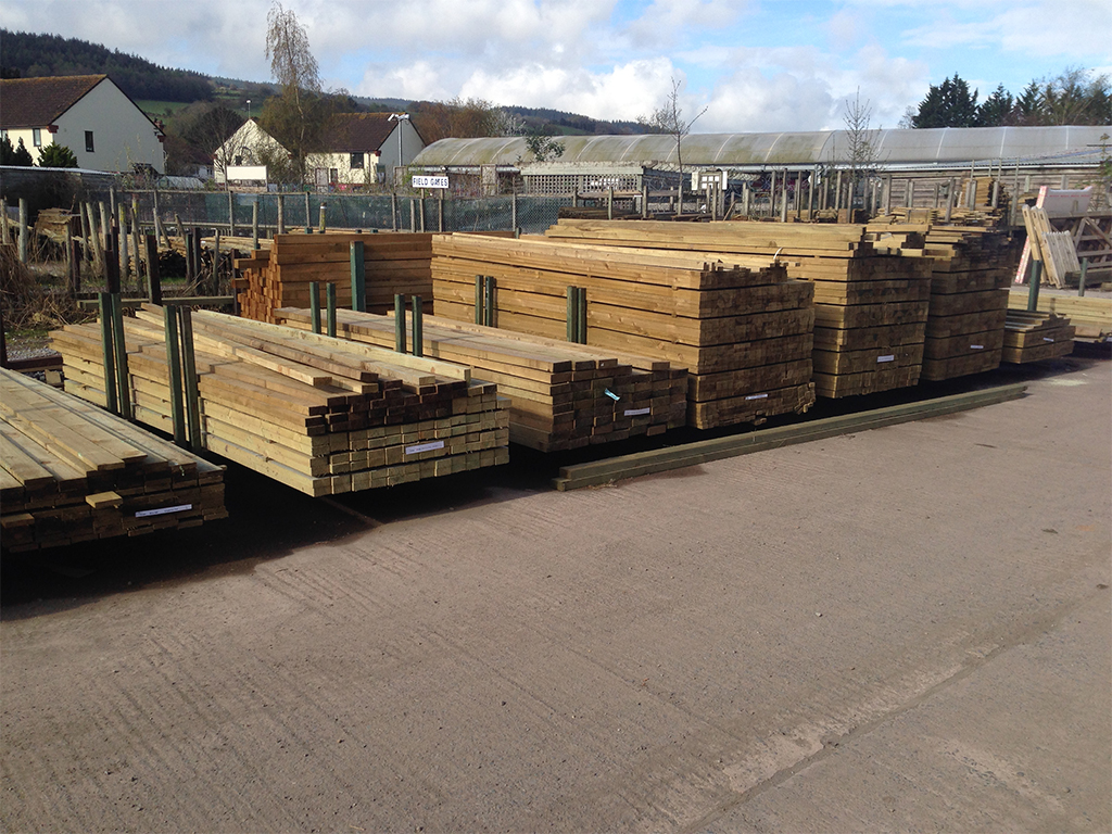 3m, 3.6m stacks of treated timber on display at Minehead Sawmills